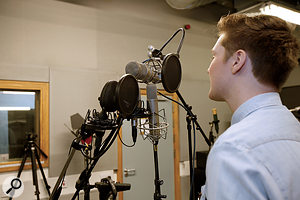 Adam Glover sings into his shortlist of four vocal mics: (clockwise from top) Neumann U47, Microtech Gefell M92.1S, AKG C414B ULS, Coles 4038.