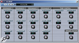 The Vocaloid VST Instrument running within Cubase SX.