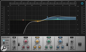 This EQ shows many of the tweaks I've mentioned: a high-pass filter to counter proximity-effect bass boost; a high-frequency shelf boost to bring out air and transparency; an upper-mid boost to increase intelligibility, so the vocal can 'cut' more; and a tiny lower mid-range dip.