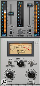 A limiter and compressor used together: the limiter applies gain reduction of about 6dB only during peaks, while the compressor applies about 6dB of gain reduction and that combines with make-up gain to increase the average level.