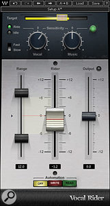 Waves Vocal Rider maintains a consistent vocal level that can react to the overall mix via side-chaining.