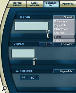 Editing controller assignments to switch between the articulations loaded into each cell of the matrix is easily done from the Control Edit screen in the right-hand display. Switches between up to 12 cells in any horizontal row are set in the 'H-Span' window, while switches between up to 12 vertically aligned cells are set in the 'V-Span' window. The 'A/B' keyswitch at the bottom can be set to change the up/down direction of grace notes, scales and glissandi. Shown at the top right of this screenshot is a list of possible controllers for articulation switching.