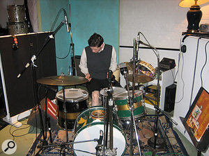 Paul Maroon behind the drum kit at Marcata. Note the original Pussy Cats LP on the music stand to the right.