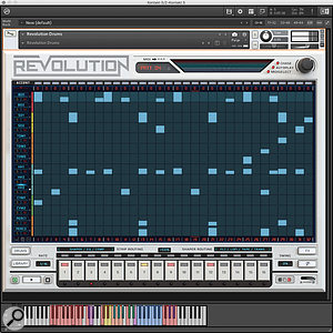 The Sequencer page, with the MIDI note map shown underneath.