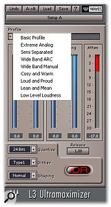 Although you can't edit the characteristics of each band in L3 Ultramaximizer, you can choose from a selection of preset Profiles.