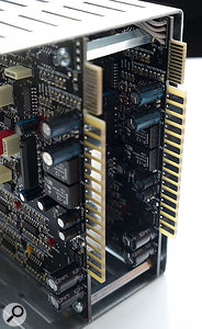 If you own Wes Audio's Titan 500-series chassis, you can control the Hyperion via a computer with the additional card-edge connectors (top), instead of the front-panel USB port.
