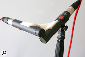 The X-Y clip, holding the mics nearer the capsules than the ORTF version.