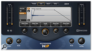 Reverb tails generated from an impulse response can be modified using the Envelope tab.