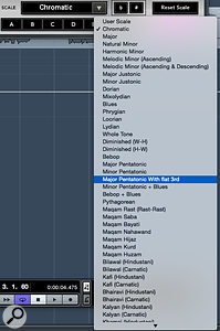 You can define your own scale using the keyboard display, and the plug-in includes a  huge number of preset scale types.