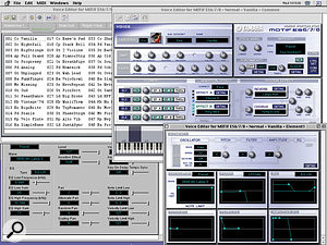 Yamaha's free cross-platform Voice Editor for Motif ES. This screen doesn't make it clear, but all Voices, including the six banks of factory presets, are loaded into the editor.