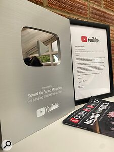 YouTube award to SOS for reaching 100,000 subscribers