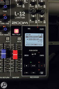 With a 512GB SDXC card loaded, the LiveTrak L‑12 can record nearly 90 hours of 12-track, 24-bit/44.1kHz audio without being hooked up to a computer.