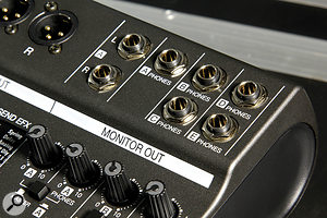 One of the features that will set the LiveTrak L‑12 apart from other mixer/recorder options for bands — there are awhopping five separate headphones outputs.