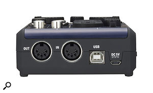 Around the back there are MIDI I/O ports, a USB-B port and a Micro USB connector, for providing power from a USB charger or external battery pack when the interface is being used with an iPad.