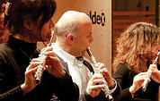 Berlin Woodwinds' flute ensemble: (L-R) Yasuko Fuchs, Klaus Schöpp, Silvia Careddu.